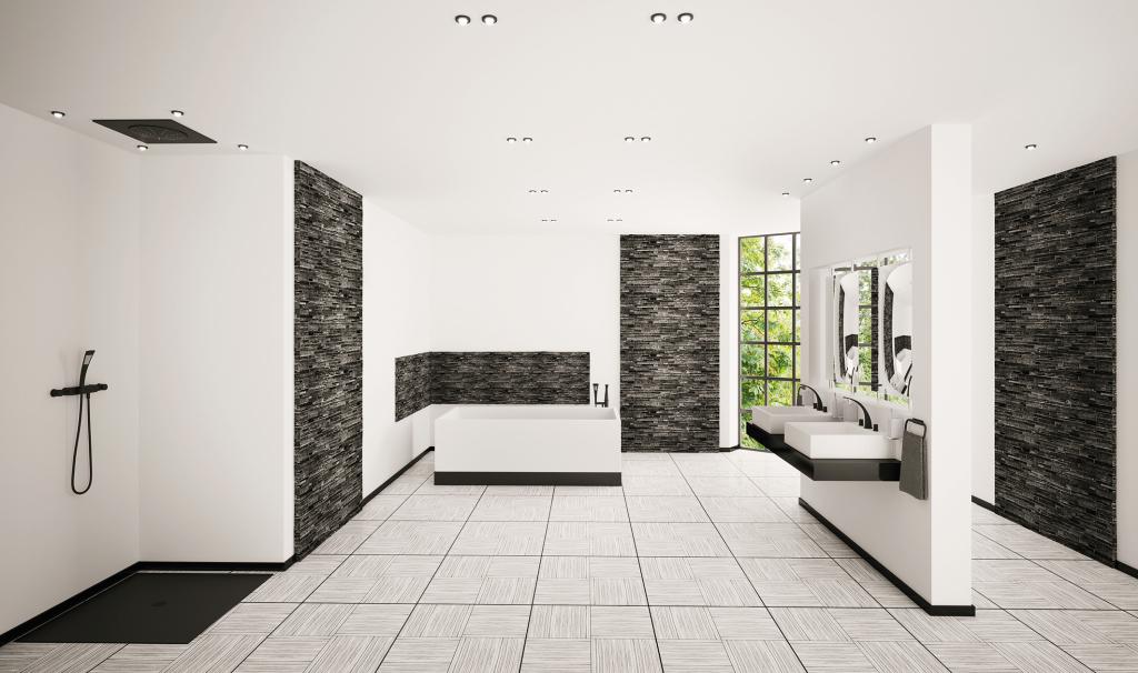 Modernes helles Bad nach Badumbau mit bodengleicher Dusche, Badewanne, Waschbecken an einer Trennwand