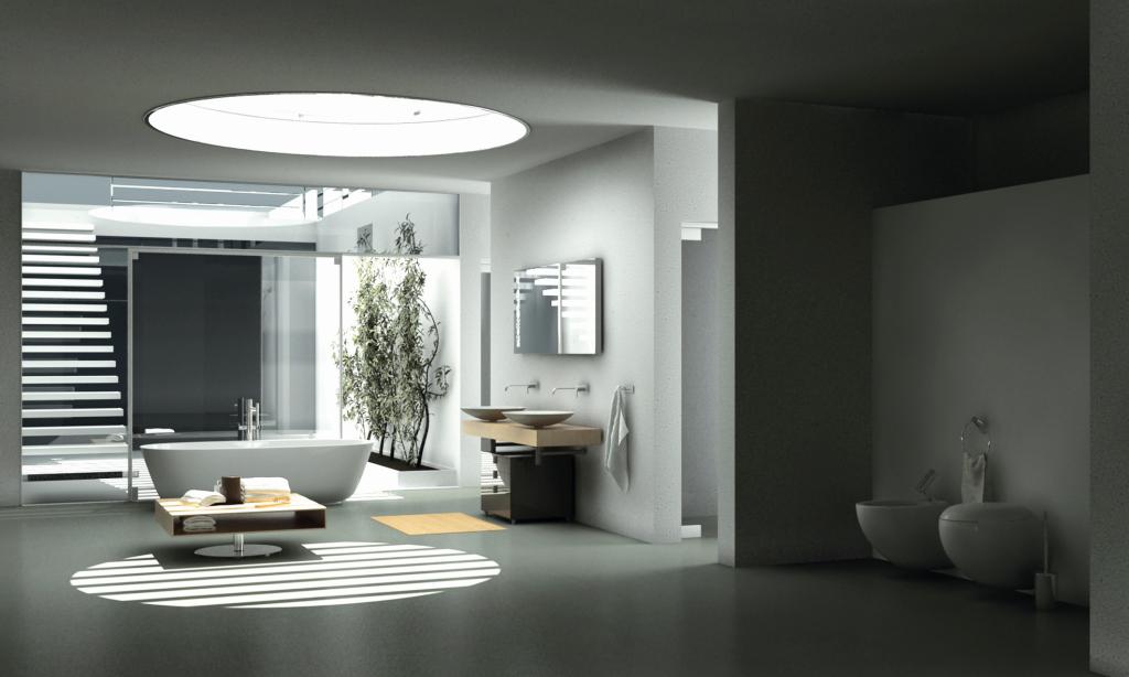 Das Bad im modernen Stil mit freistehender Badewanne, großzügig, wohnlich mit Lichteffekten durch rundem Fenster in der Decke.
