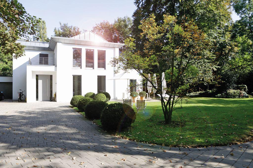 Weiße Villa mit Park. An der Fassade sind keine Grünbeläge zu sehen, sie glänzt weiß.