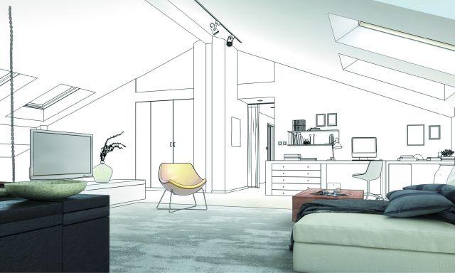 Dämmung beim Steildachausbau: Grafik eines ausgebauten Daches mit Einbauschränken. einer Arbeitsplatte, einem Fernseher, Bett und Sessel.