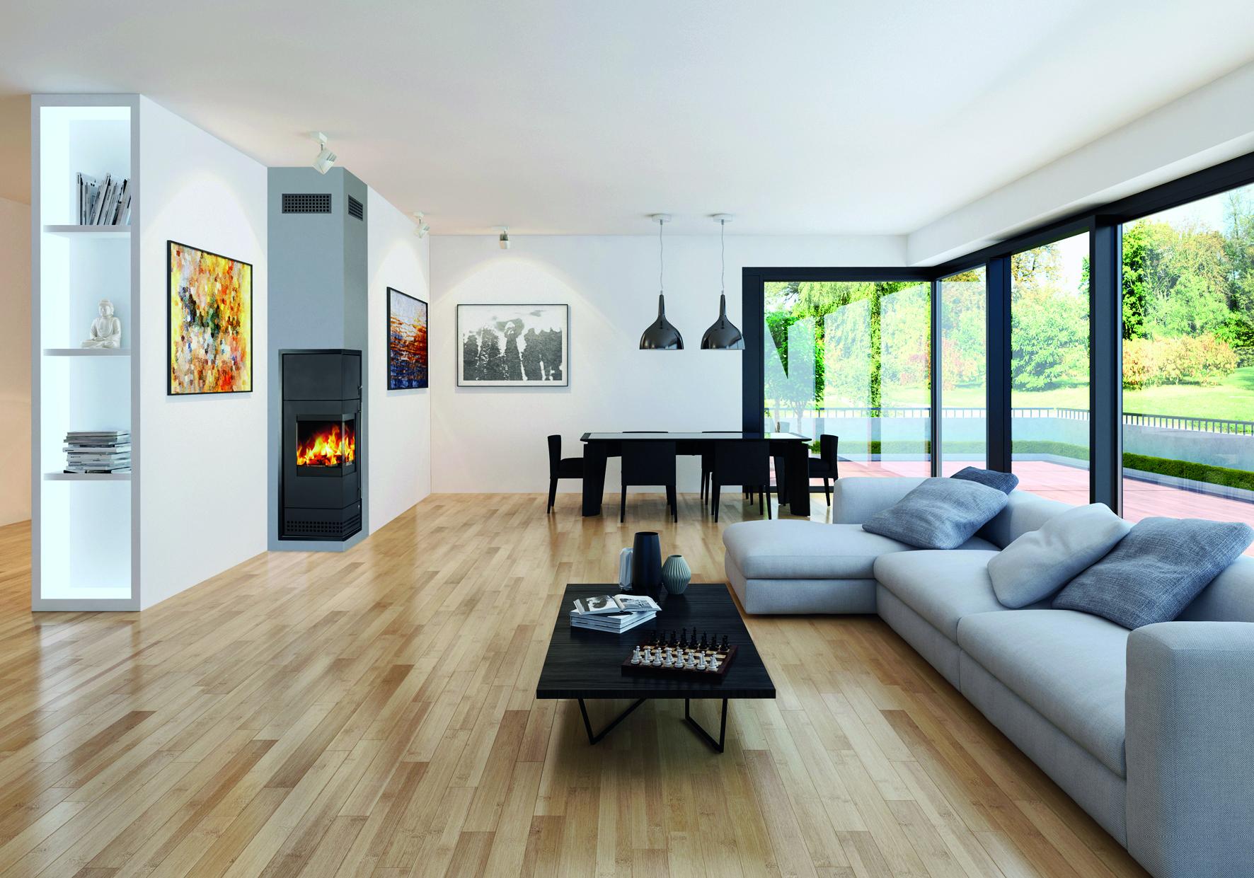 Modernes Wohnzimmer. Ein Schornstein mit integriertem Ofen.