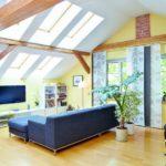 Gemütliche Dachwohnung mit Dachfenstern, blauem Sofa Fernseher, weißen Regalen und einigen Pflanzen. (Dachwohnungen brauchen Schutz)