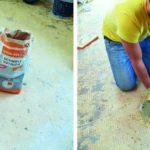 Ein Facharbeiter stellt die Fußbodensanierung her, mithilfe von Schnellestrich