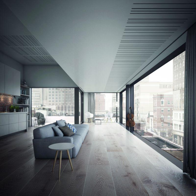 Minimalistisch eingerichtete Wohnung im modernen Stil