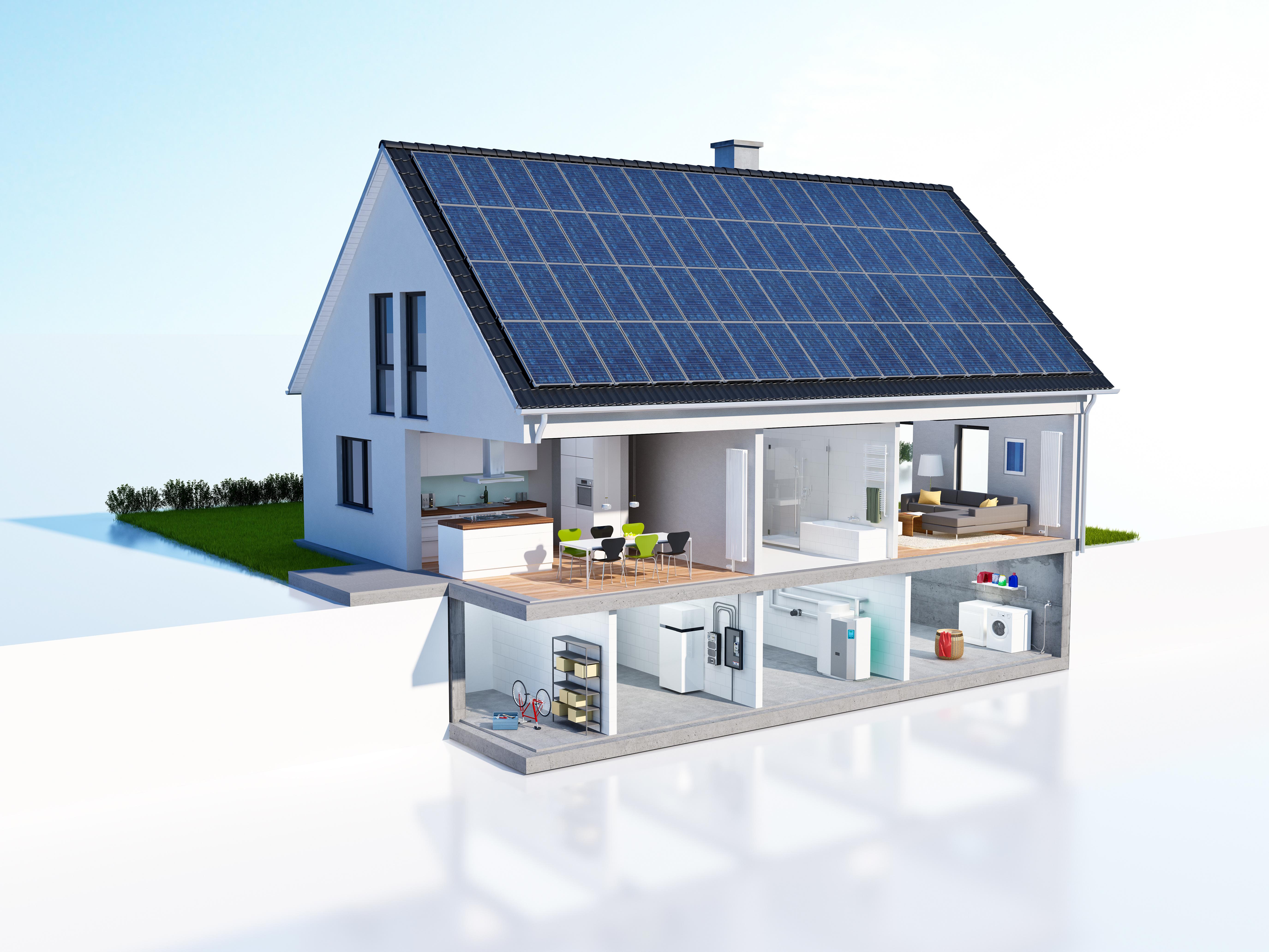 Neubau mit Keller: Grafik eines Einfamilienhauses mit keller als Wohnraum.